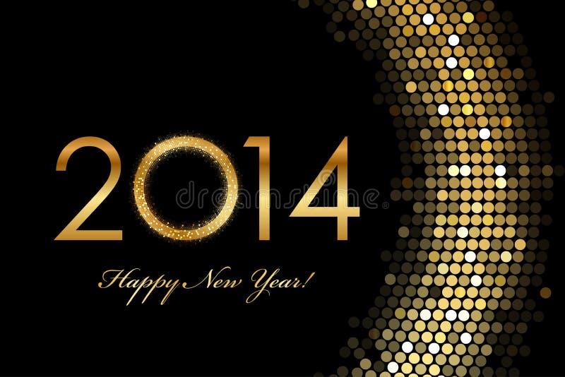 2014 guld- glöda för lyckligt nytt år 2014 stock illustrationer