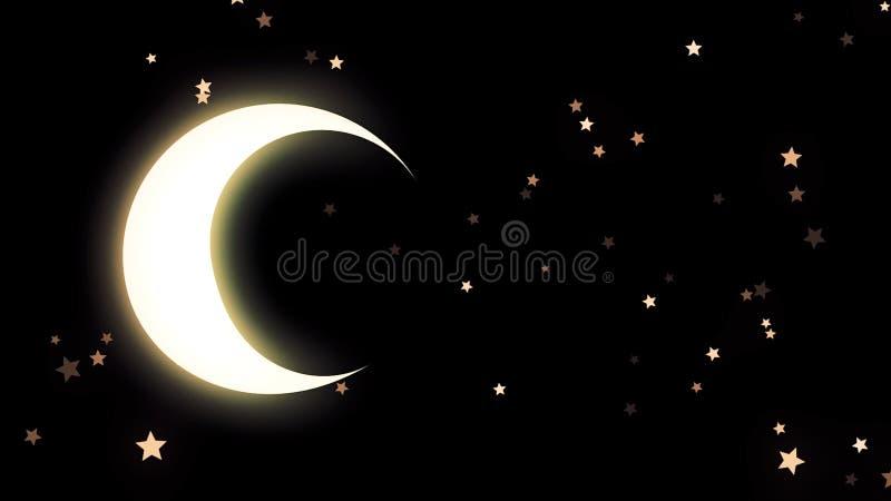 Guld- glöda växande och många stjärnor på svart bakgrund, natthimmel djur Härlig gul halvmåne och många royaltyfri illustrationer