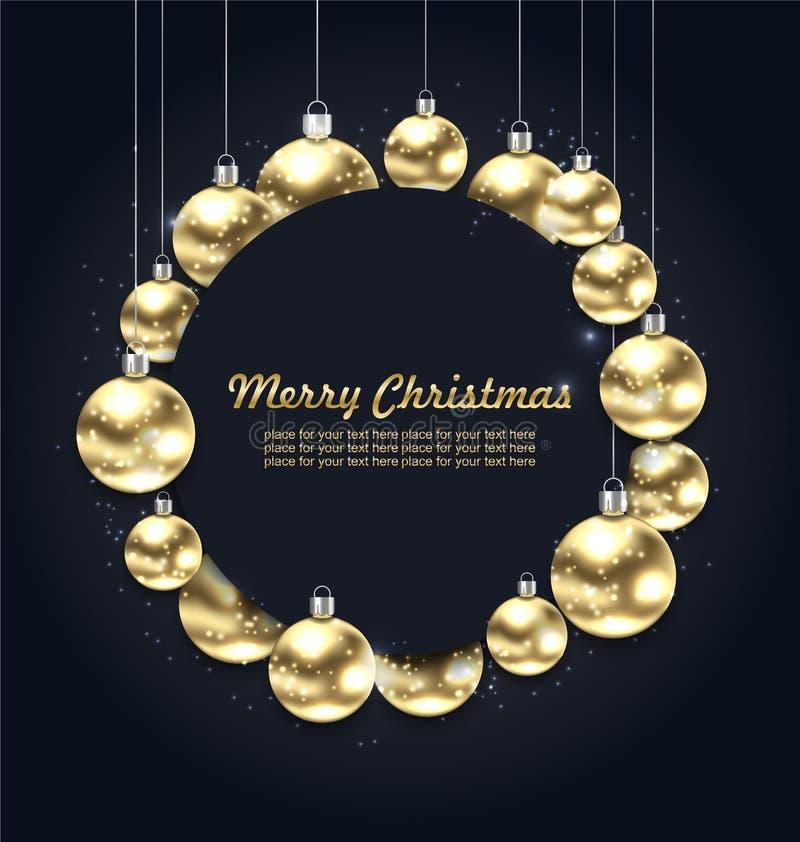 Guld- glödande bollar för jul med berömkortet, mörk bakgrund royaltyfri illustrationer