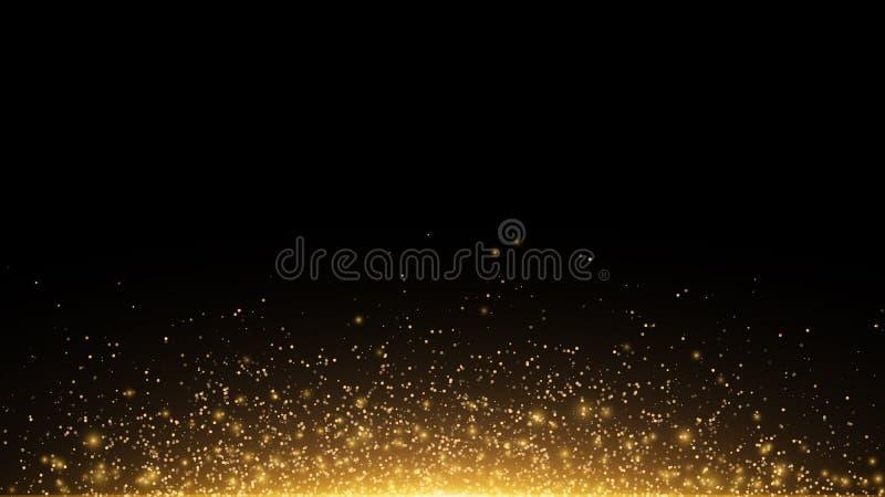 Guld- glödande damm på en svart horisontalbakgrund Panelljus från botten Mall för projektet Gnistrandeprickar, runt tenn vektor illustrationer