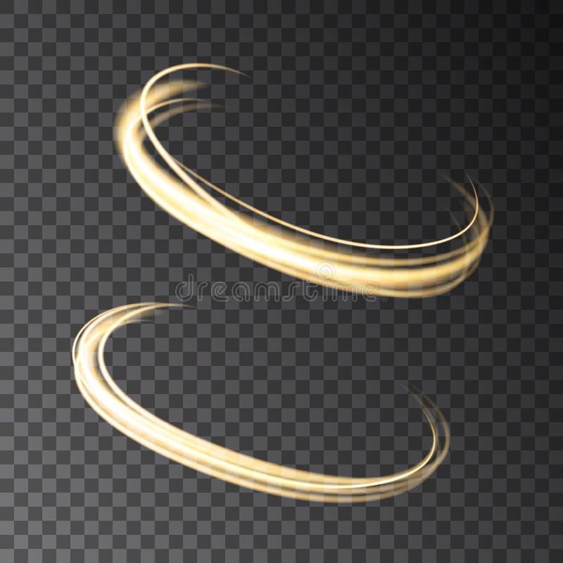 Guld- glödande isolerade cirkelljuseffekter på genomskinlig bac vektor illustrationer