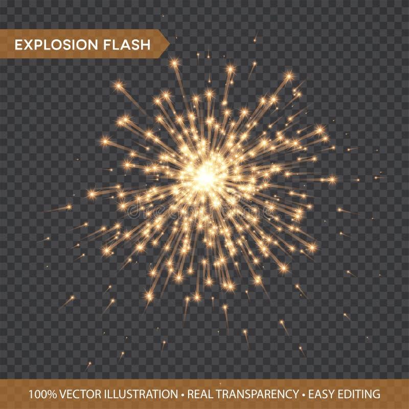Guld- glödande isolerade ljuseffekter på genomskinlig bakgrund Explosionexponering med strålar och strålkastaren Stjärnabristning royaltyfri illustrationer