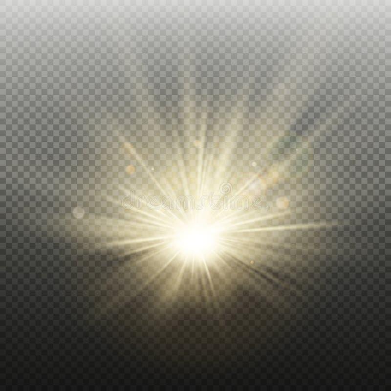 Guld- glödande ljus prålig effekt för solnedgång eller för soluppgång Varm bristning med strålar och strålkastaren Realistisk lju royaltyfri illustrationer