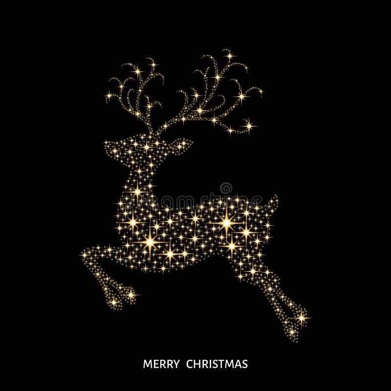Guld- glödande ren för jul som dekoreras med gnistor royaltyfri illustrationer