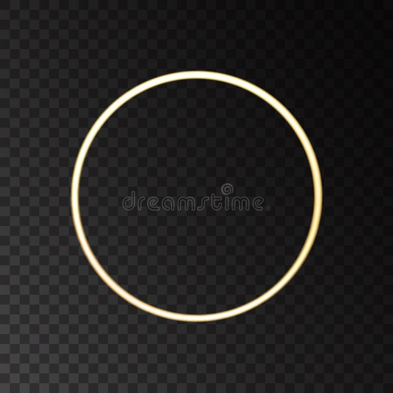 Guld- glödande rund ram vektor illustrationer