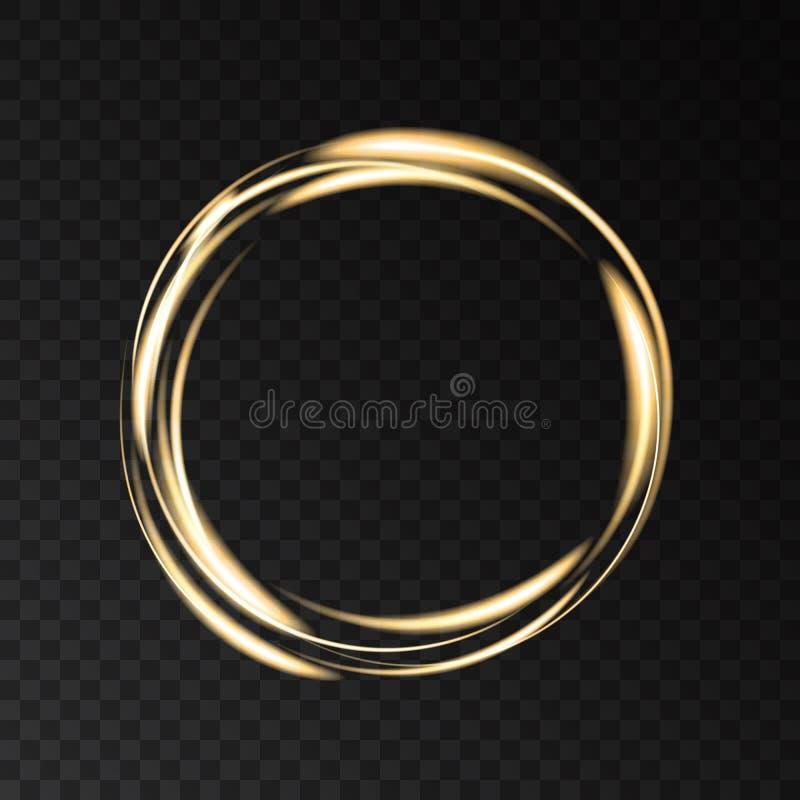 Guld- glödande rund ram med ljuseffekter vektor illustrationer