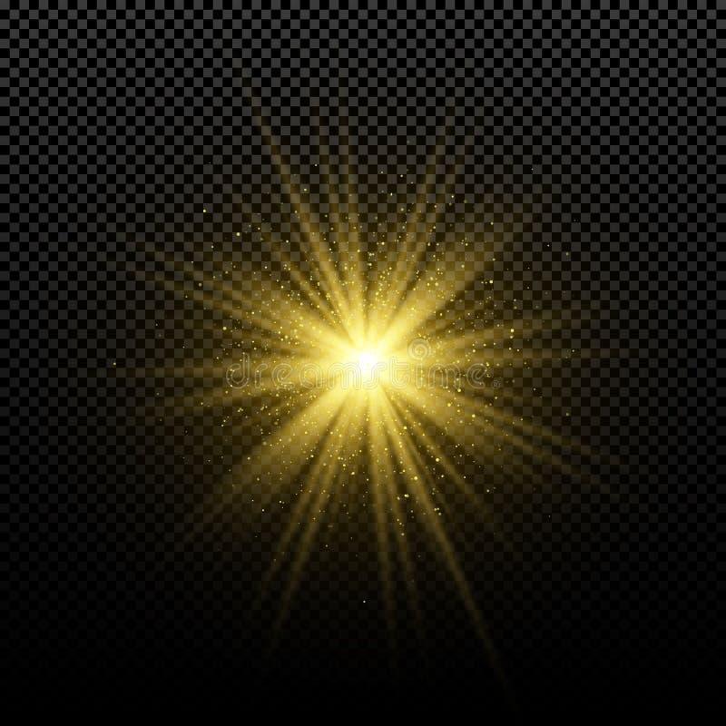 Guld- glödande guld- stjärna på en genomskinlig bakgrund Glödande magisk stjärna ljusa signalljus abstrakt bakgrundsguldstrålar M stock illustrationer