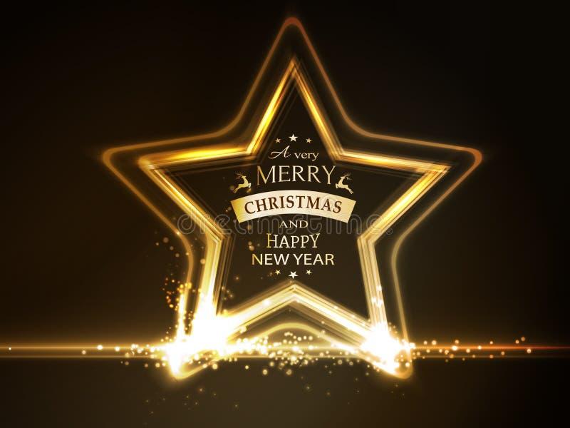 Guld- glödande stjärnaram med typografi för glad jul vektor illustrationer