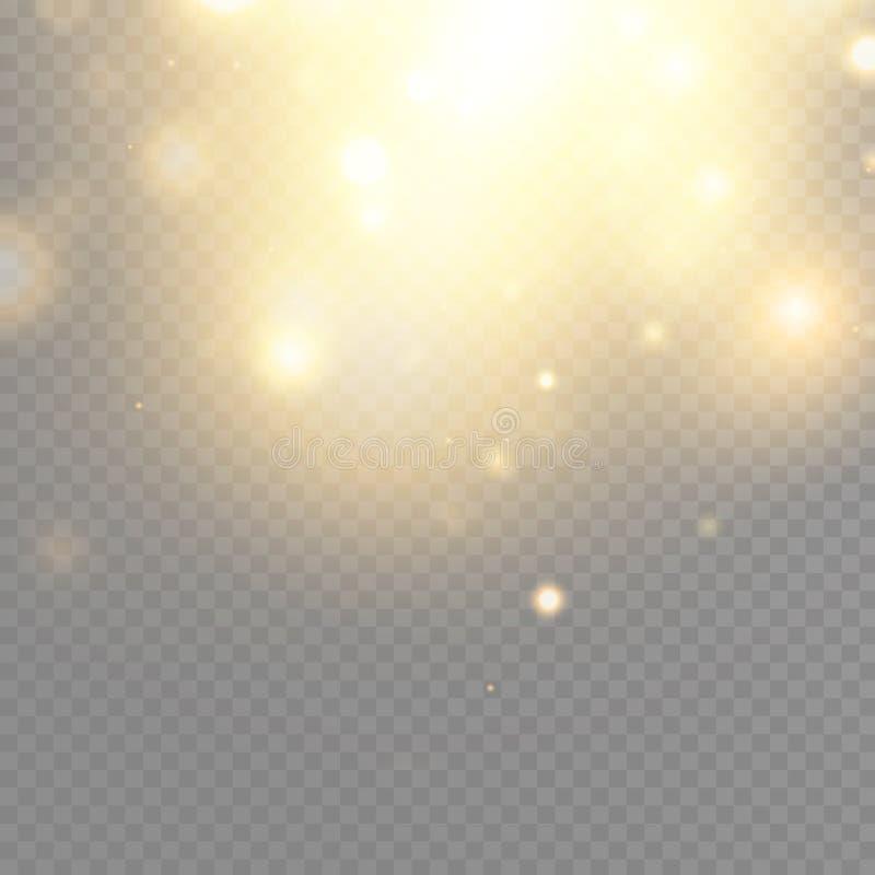 Guld- glödpartikelbokeh Blänka effekt bristningen med mousserar Den guld- brusanden blänker och stjärnor Festlig vektor stock illustrationer