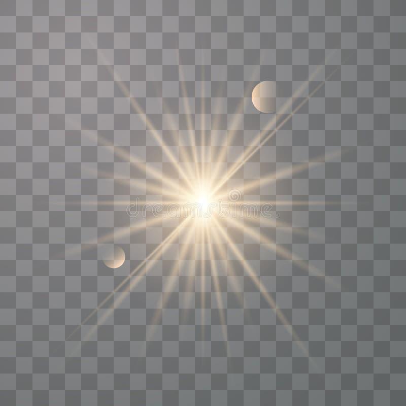 Guld- gl?nsande vektorsol stock illustrationer