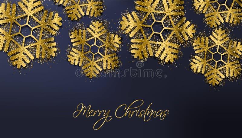 Guld- glad jul blänker snöflingavektorn Moussera kortet för vinterferier realistisk textur 3d 1 kortinbjudan royaltyfri illustrationer