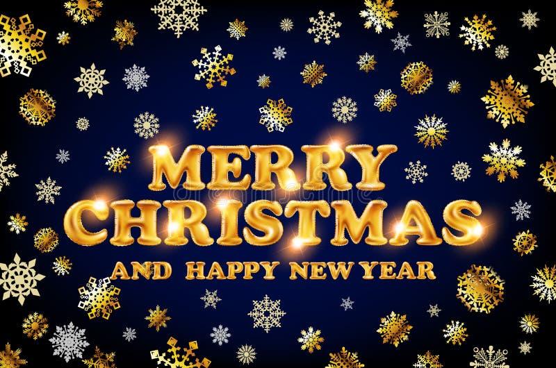 Guld- glad jul och det lyckliga nya året slösar bakgrund med garnering på guld- ljusa snöflingor också vektor för coreldrawillust vektor illustrationer
