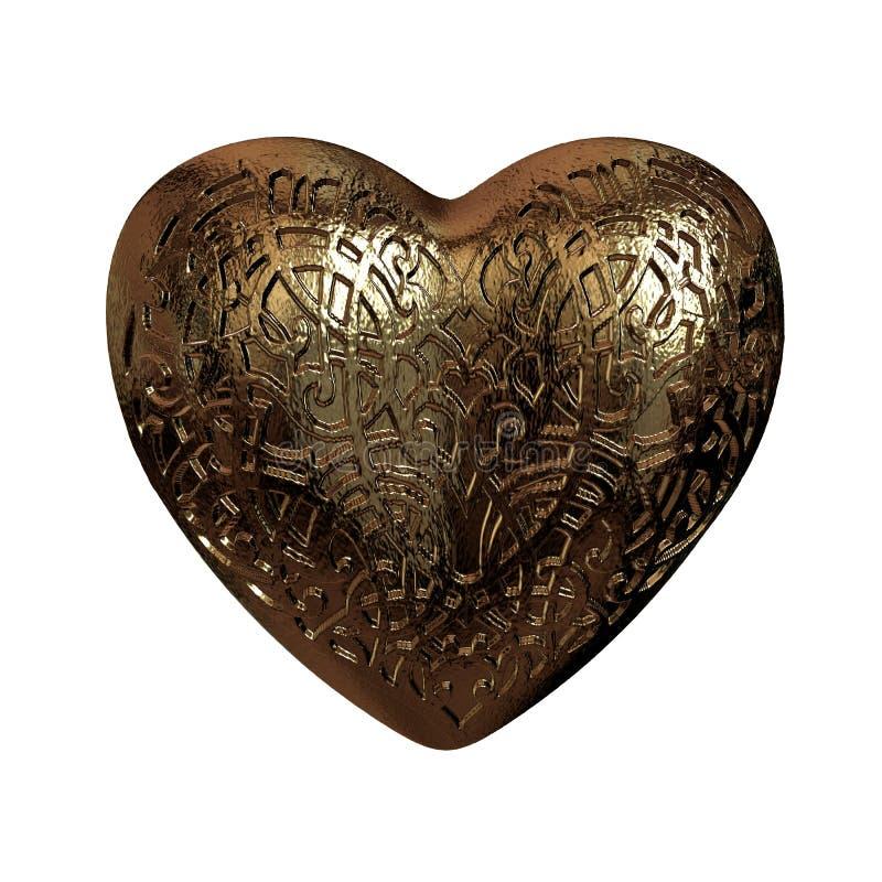 guld- glansiga valentin för prydnad 3D hjärta royaltyfri illustrationer