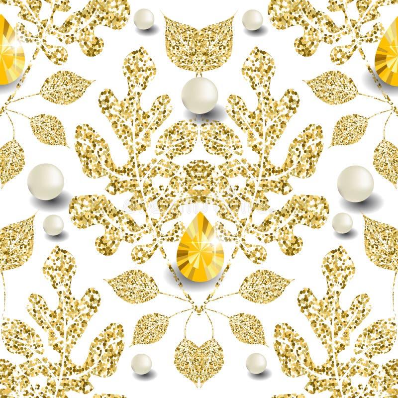 Guld- glittery blom- sömlös modell för vektor 3d Lövrik mönstrad smyckenbakgrund Upprepa den damast bl?nka bakgrunden Tappning stock illustrationer