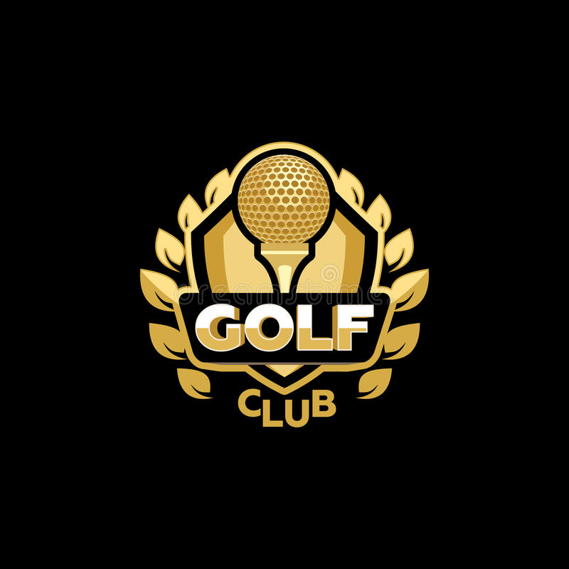 Guld- golfklubb stock illustrationer
