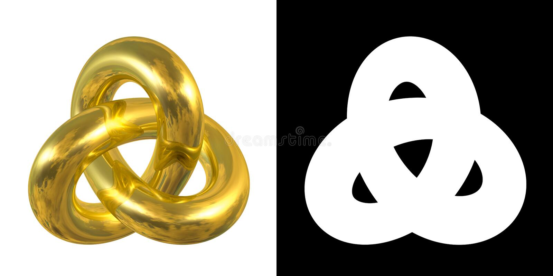 Guld- Gordian Knot Sign, reflexion av himmel - guld- symbol som isoleras på vit bakgrund arkivbild