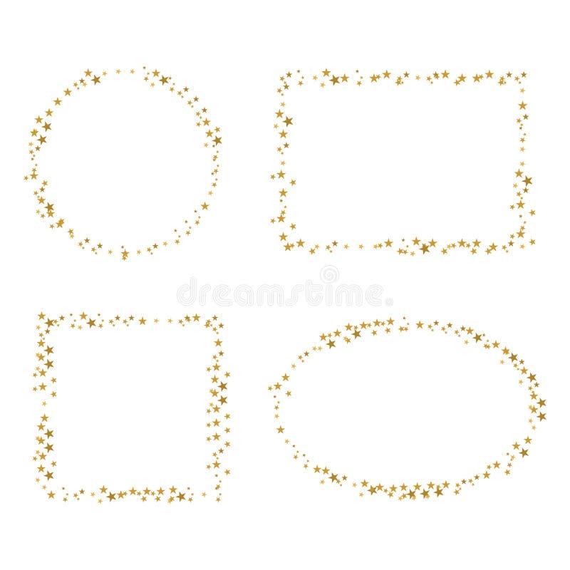Guld- gräns för stjärna fyra stock illustrationer