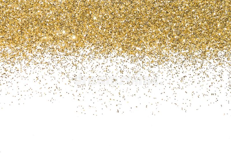 Guld- gräns sequins Guld- sken pulver blänka bakgrund som skiner royaltyfria bilder