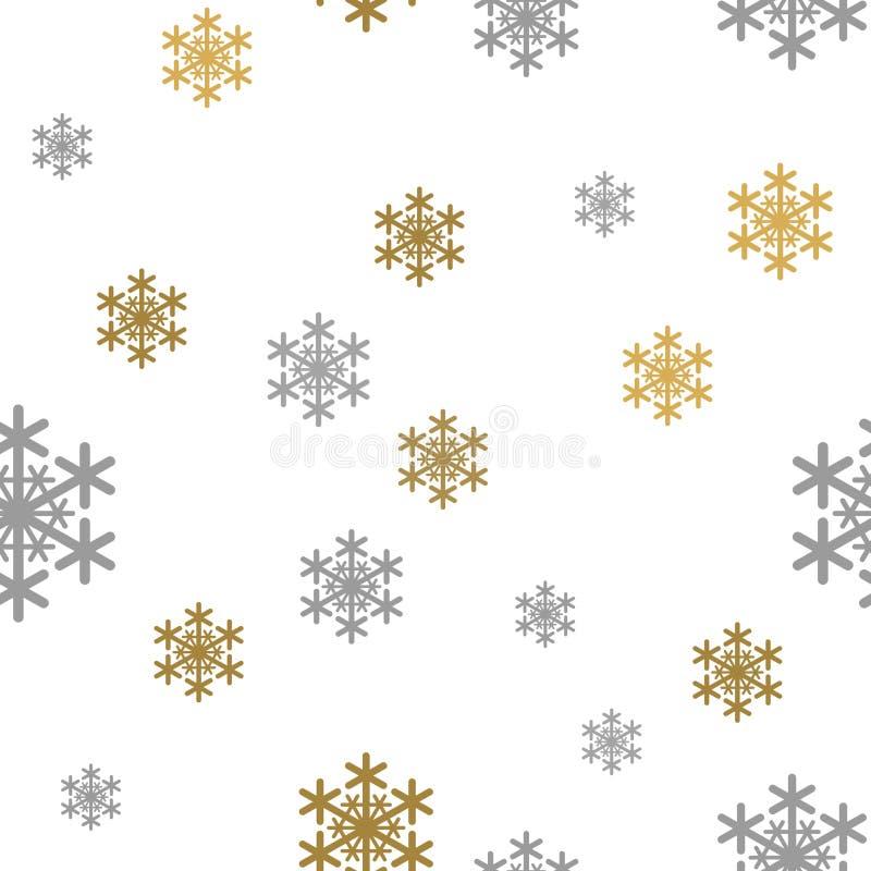Guld- grå snö för sömlös modell som faller på vit bakgrund med glade Christmass Guld- Gray Snowflakes Bakgrund för ditt vektor illustrationer