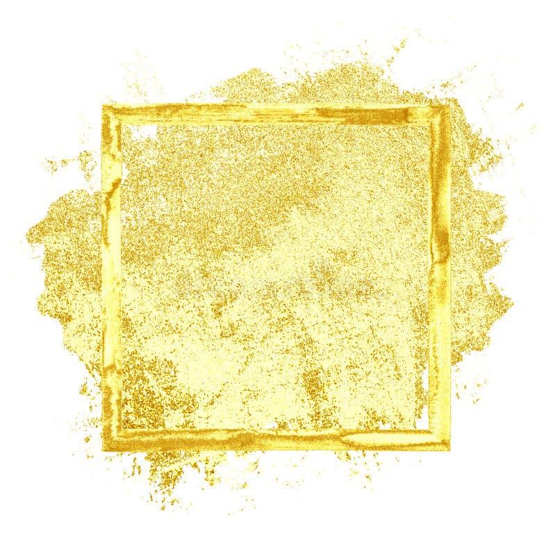 Guld- grungeram stock illustrationer