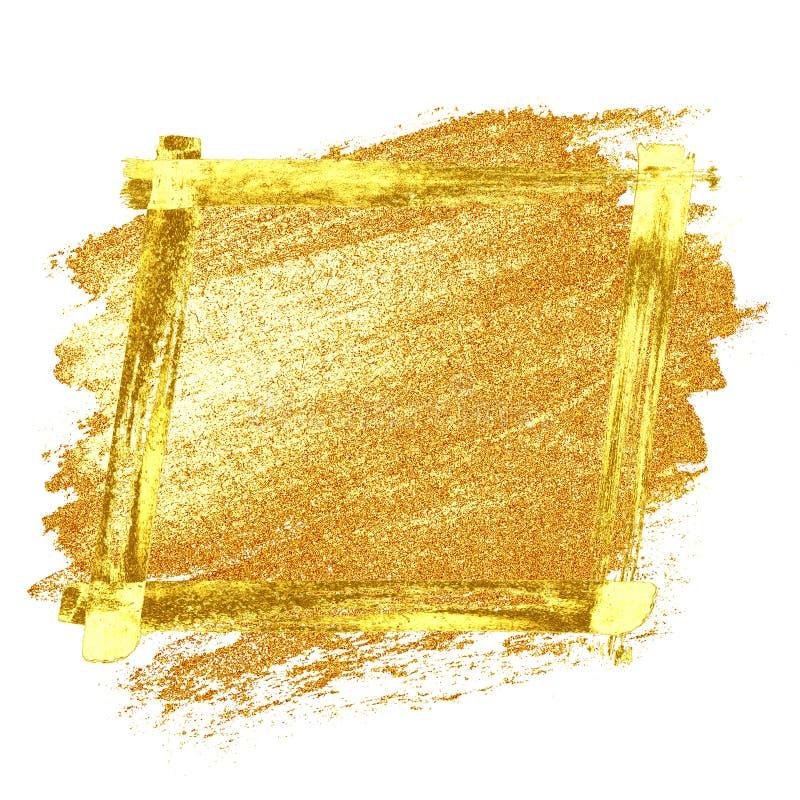 Guld- grungeram royaltyfri illustrationer