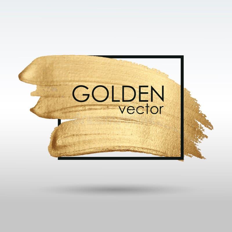Guld- grungetextur i en ram Sudd med ett konstnärligt penseldrag En briljant festlig modell royaltyfri illustrationer