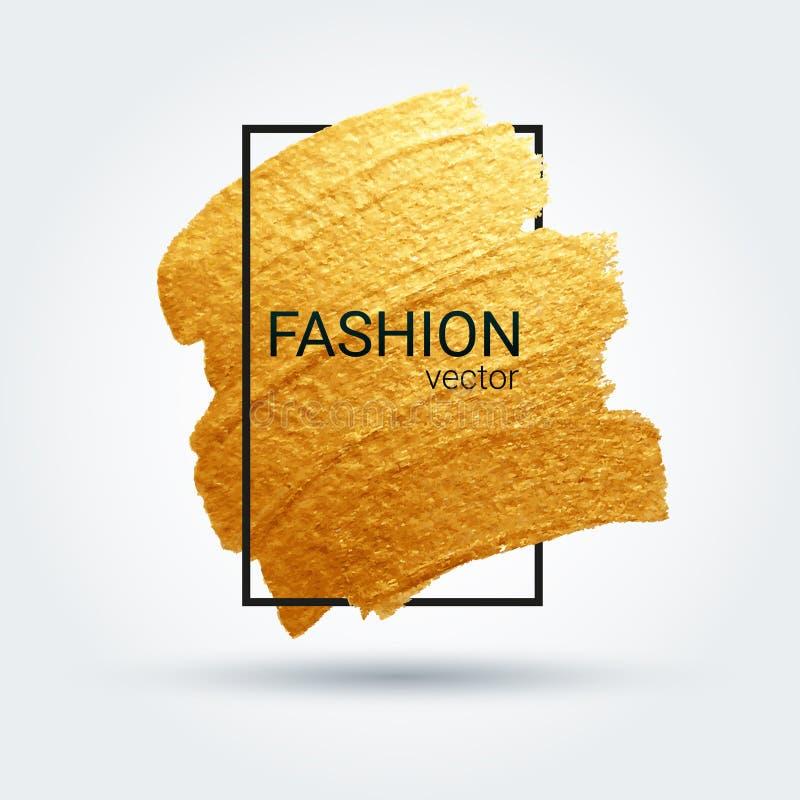guld- grungetextur Vektorborsteslaglängd En briljant festlig modell Ljus bakgrund royaltyfri illustrationer