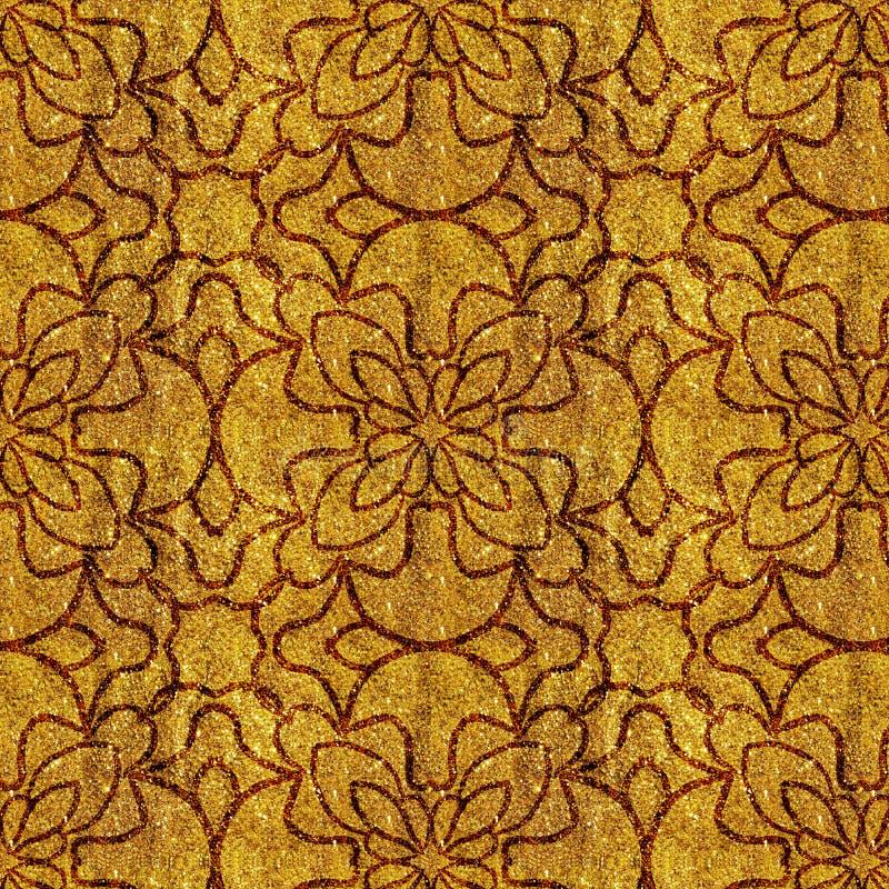 Guld- gul grungy blom- modell över gul glittery glänsande bakgrund stock illustrationer