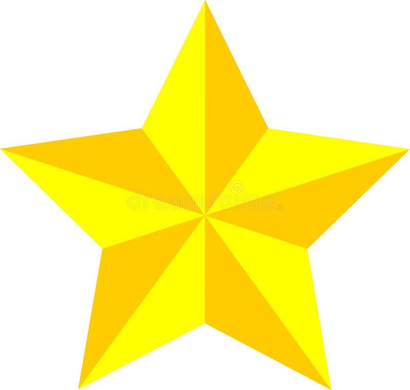 Guld/gulingstjärna, modig värderingsstjärna, prestation fotografering för bildbyråer