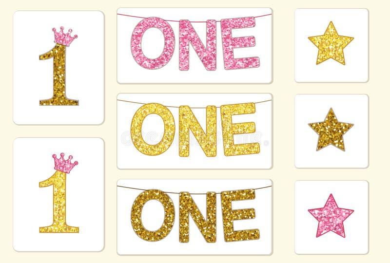 Guld- gullig tappning blänker nummer ett med kronan och bunting med ord ETT stock illustrationer