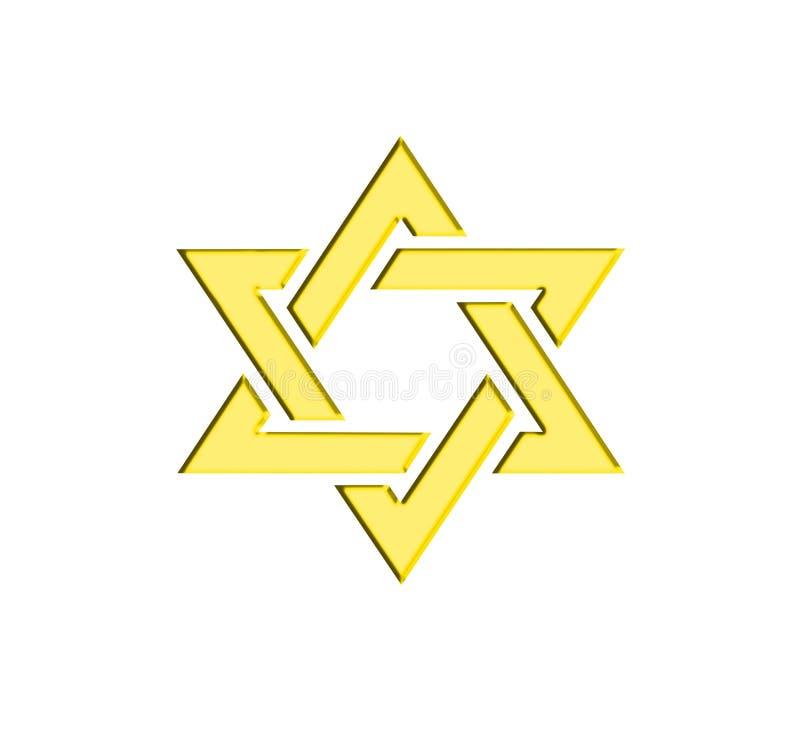 Guld- gult judiskt för davidsstjärna stock illustrationer