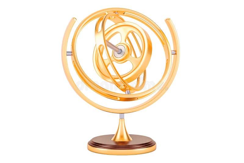 Guld- gyroskop, tolkning 3D stock illustrationer