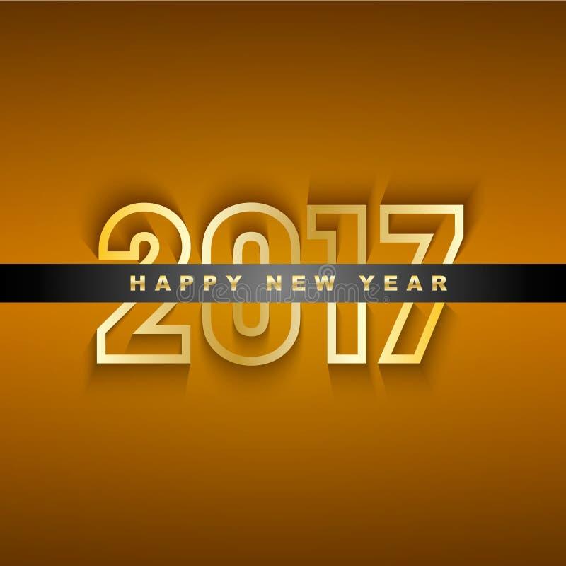 Guld- hälsningkort för nytt år 2017 vektor illustrationer
