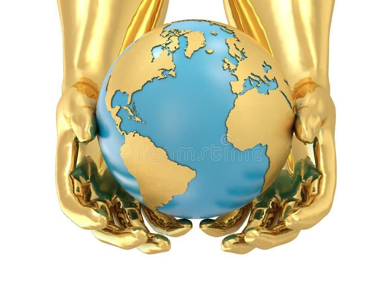 guld- händer för jord royaltyfri illustrationer