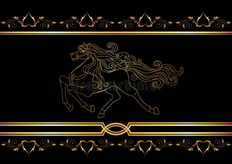guld- häst stock illustrationer