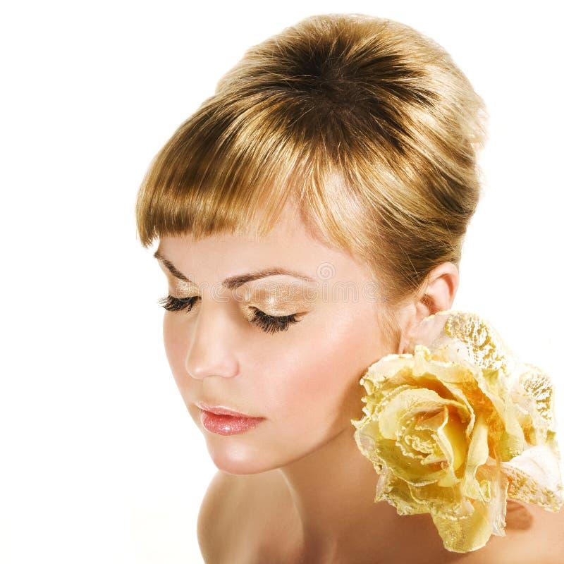 guld- hår royaltyfria bilder