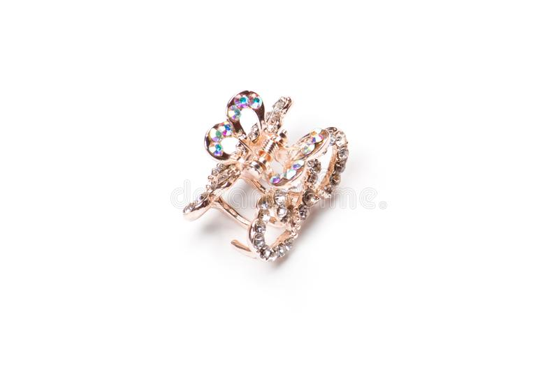 Guld- hårspänne med diamanter Bijouterie royaltyfria bilder