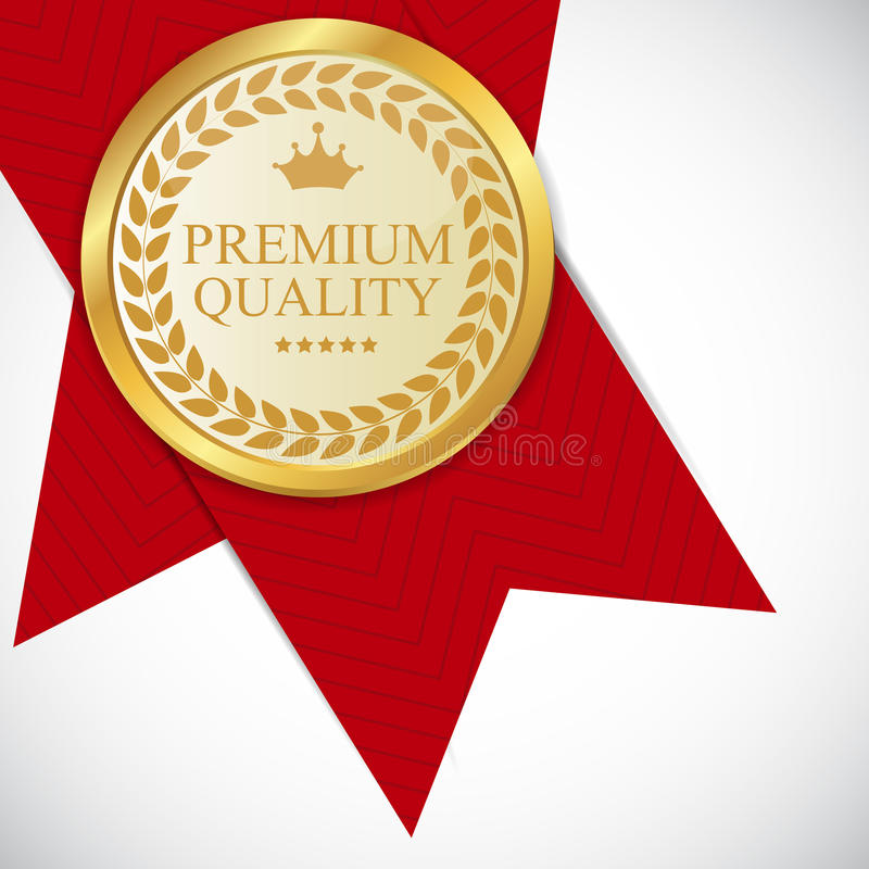 Guld- högvärdig kvalitets- etikettvektorillustration stock illustrationer