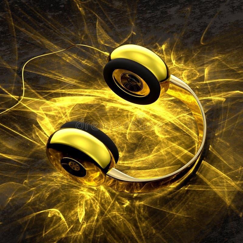 Guld- hörlurar med ljus effekt för caustics royaltyfri illustrationer