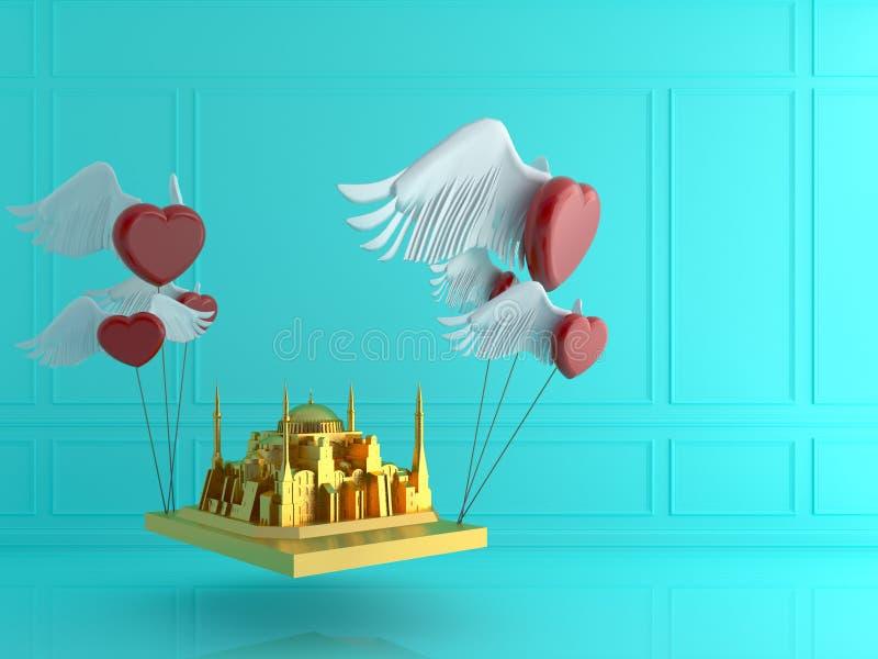 Guld- Hagia Sophia med röd hjärta i blått hyr rum Förälskelselopp Tur royaltyfri illustrationer
