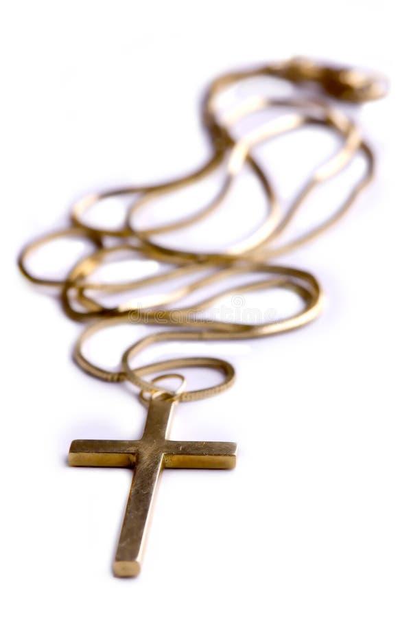 guld- halsband för kors royaltyfria bilder