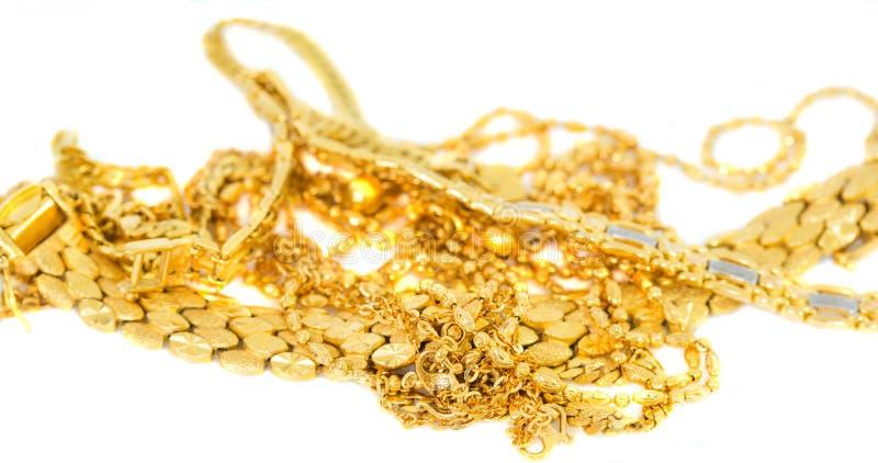 Guld- halsband och armband II fotografering för bildbyråer