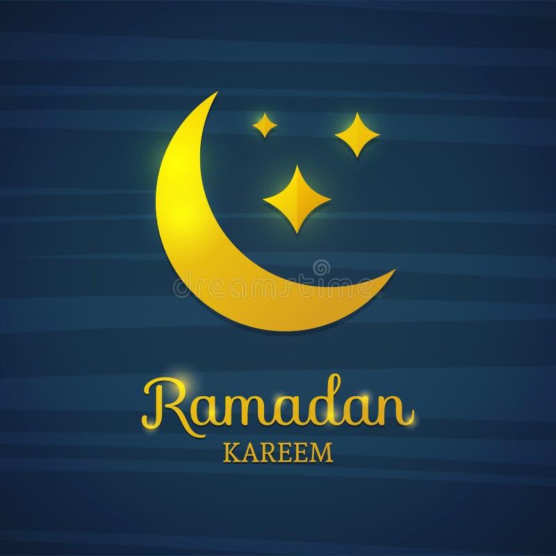 Guld- halvmånformig på en blå bakgrund Gul måne för Ramadan Kort för Ramadan Kort baner med en växande guld- måne royaltyfri illustrationer