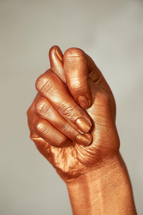 Guld- hand, tecknet av ingenting som du inte ska få Negativt v?rde Guld- fikontr?d royaltyfri bild