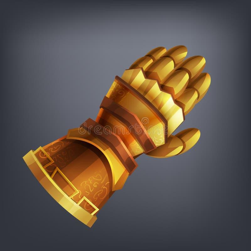 Guld- handske för fantasiharneskhand för lek eller kort stock illustrationer