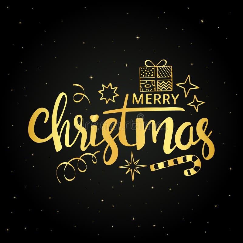 Download Guld- Handskriven Bokstäver För Glad Jul Vektor Illustrationer - Illustration av lyckligt, inbjudan: 78731673