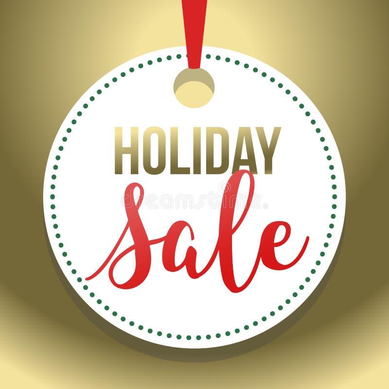 Guld- Hang Tag Holiday Sale Vector illustration 2 royaltyfri illustrationer