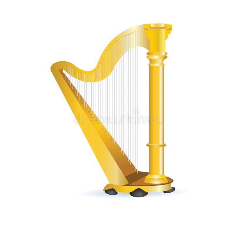 Guld- harpa vektor illustrationer