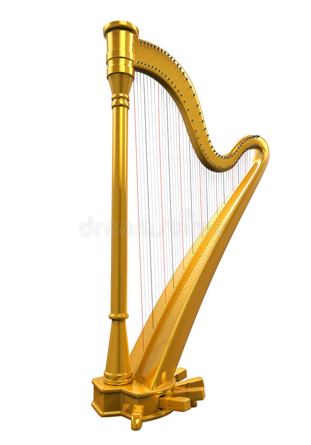 guld- harpa stock illustrationer