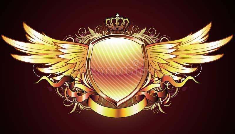 guld- heraldisk sköld stock illustrationer